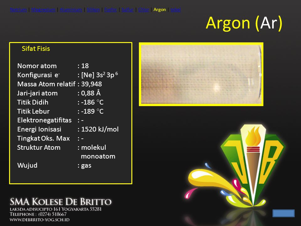 Argon (Ar) Sifat Fisis Nomor atom : 18 Konfigurasi e- : [Ne] 3s2 3p 6